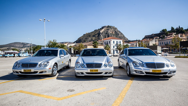 Our taxis under the Palamidi Castle
